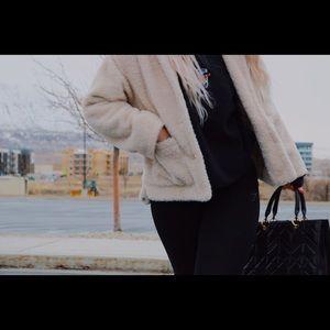 Jackets & Blazers - Cream Teddy Button Up Coat